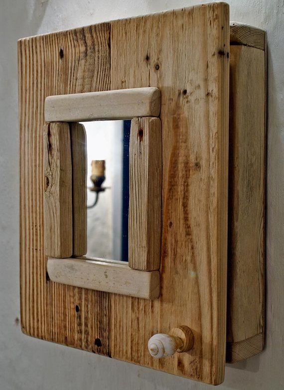 Driftwood Cabinet with a mirror Bathroom Cabinet by MarzaShop ...