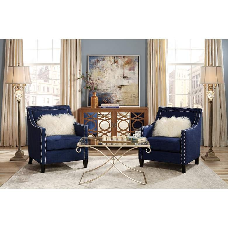Flynn Navy Blue Upholstered Armchair - #4W442   Lamps Plus ...