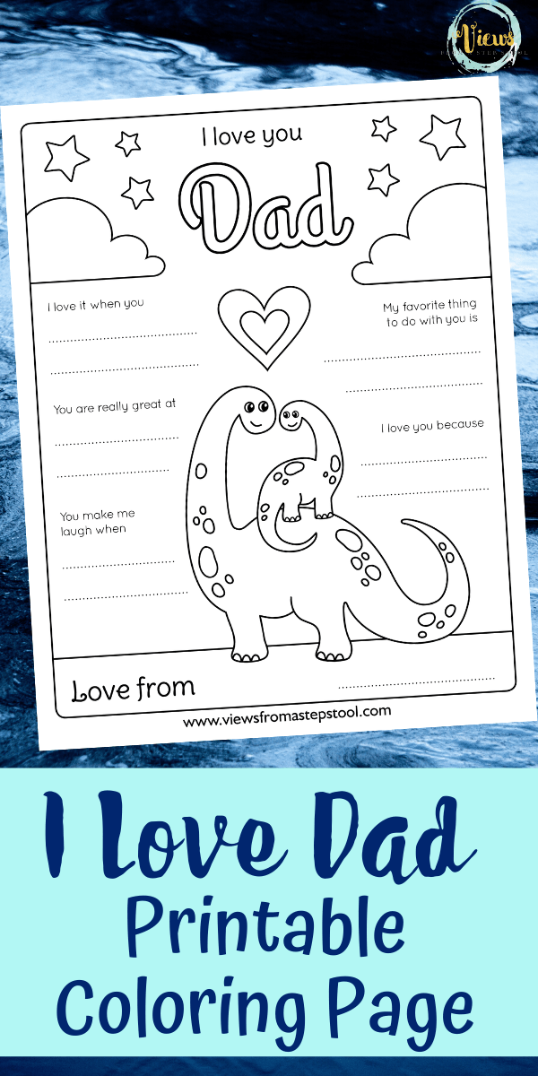 I Love Dad Coloring Page - Free Printable