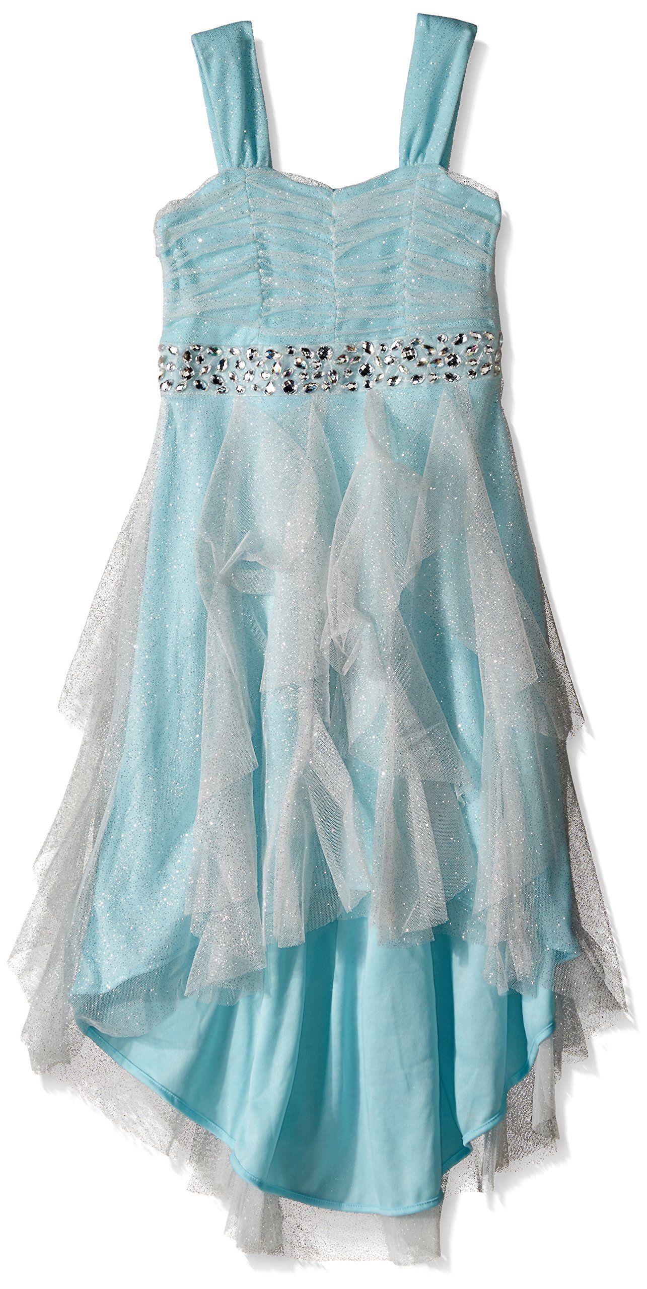 a60c9bdd640 Tween Diva Big Girls  Glitter Mesh High Low Cascade Dress