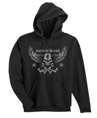 Made In Detroit Mens Biker Wrench Hoodie-Black