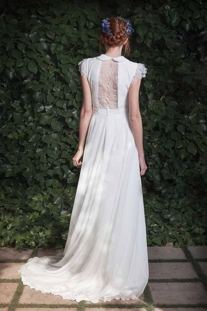 vestido de novia camisero en crepé y gasa de seda con cuello cerrado