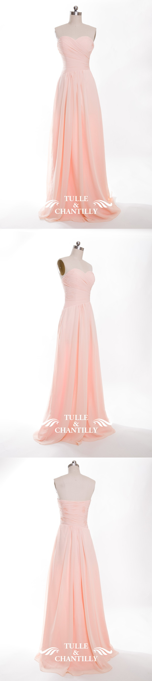 rose chiffon long bridesmaid dresses for spring summer weddings ...