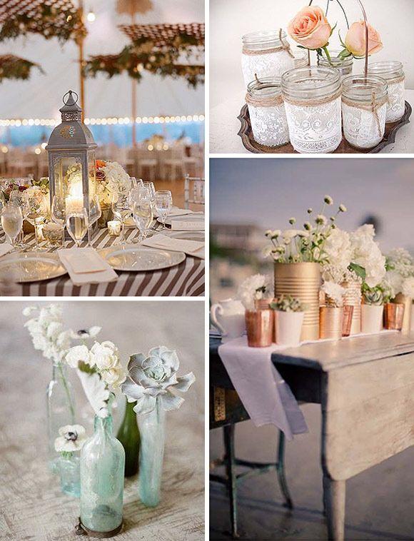 10 ideas rustic chic para deslumbrar en tu boda centros de mesa originales wedding decor - Bodas originales ideas ...