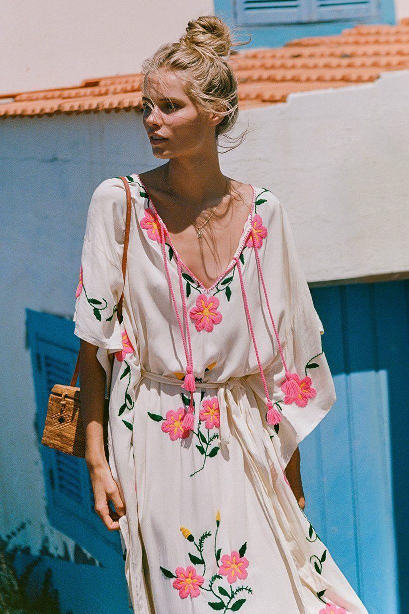 e5a8410c087a5 Kirsten Liljegren wears Spell Designs Sayulita Embroidered Kaftan ...