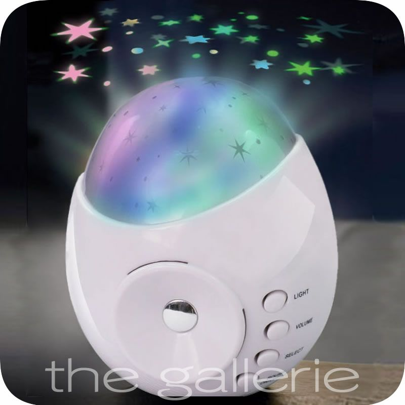White Galaxy Star Projector Sound Machine Baby Kids Bedroom