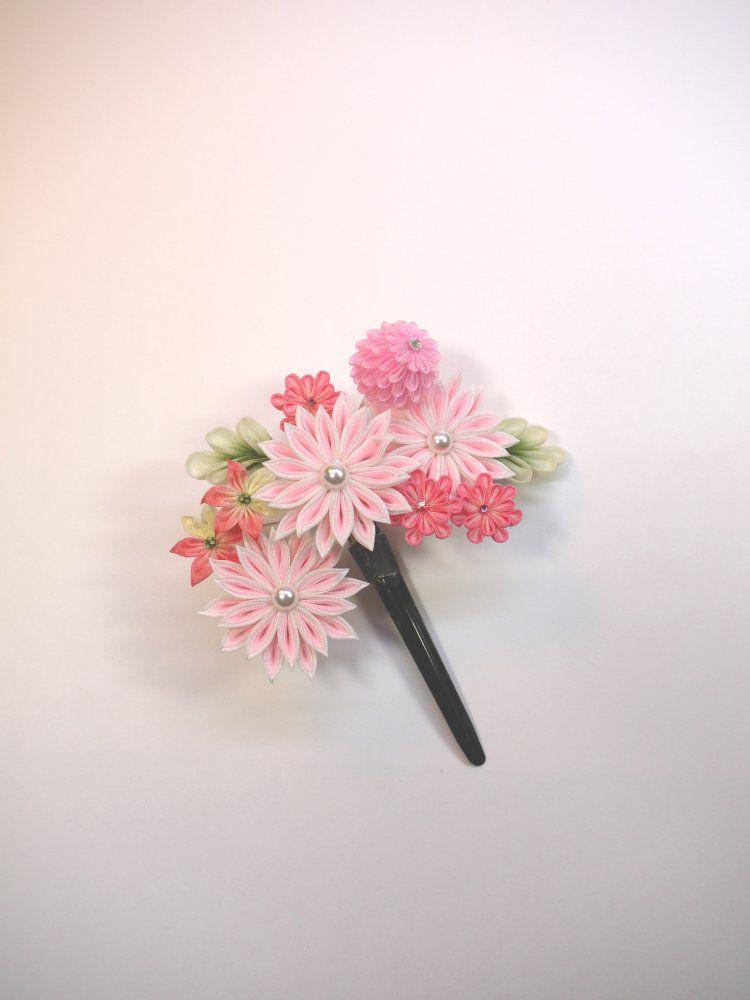 画像をクリックするとウィンドウを閉じます 花のかんざし フラワークラフト つまみ細工 髪飾り