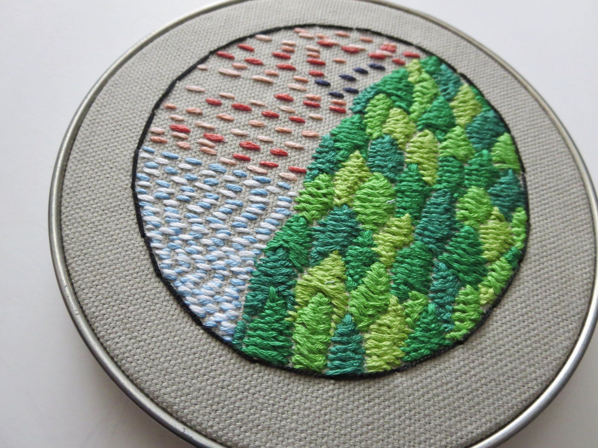 An embroidered art big hill under colorful sky wall art pinterest