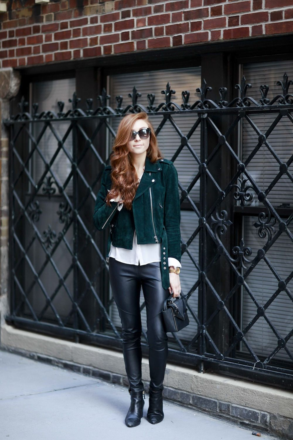 Leather & Suede – Green Moto Jacket – New York Style