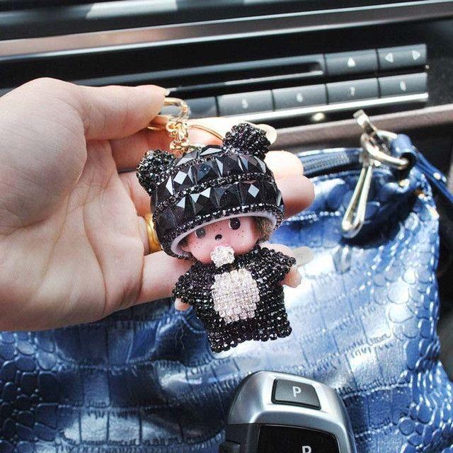 Free shipping monchichi Keychain Rhinestone Bag Accessories