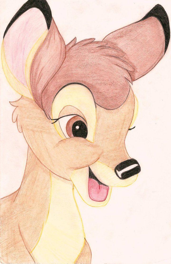 Bambi Drawing In Color By Iranaa On Deviantart Disney Character Drawings Cartoon Drawings Disney Drawings