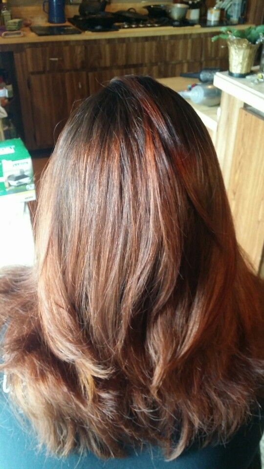 """""""Bombre"""" balayage and ombre together. Lightened with Blondor, toned with Paul Mitchell PM Shines in a 6RB, called Nutmeg"""