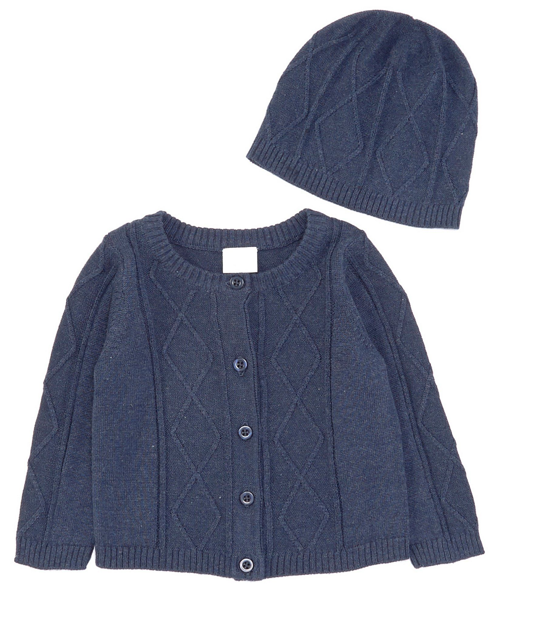 Photo of Edgehill Collection Baby Boys Newborn-6 Months Long-Sleeve Cable-Knit Cardigan  Hat Set – Navy 6 Months