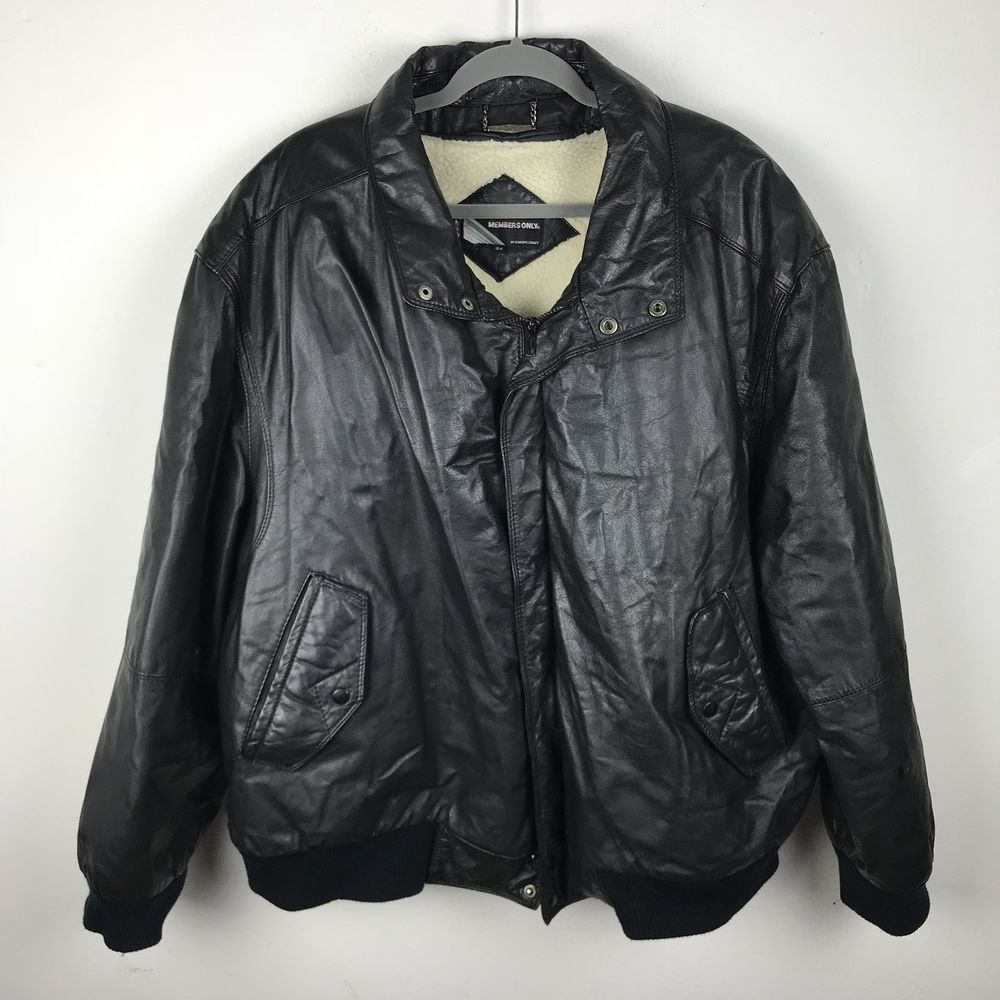 Vintage Members Only Mens Leather Bomber Jacket Coat Size