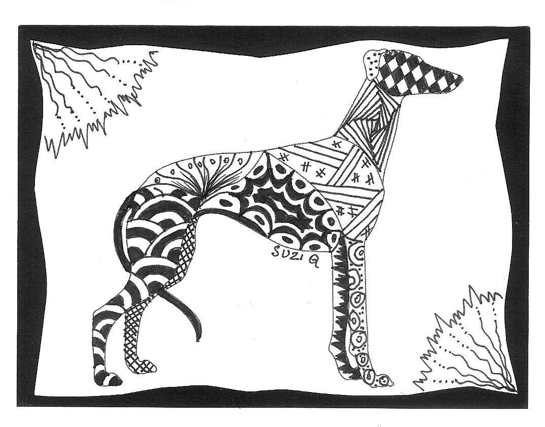 Zentangle Greyhound Greyhound Art Dog Coloring Page Dog Art