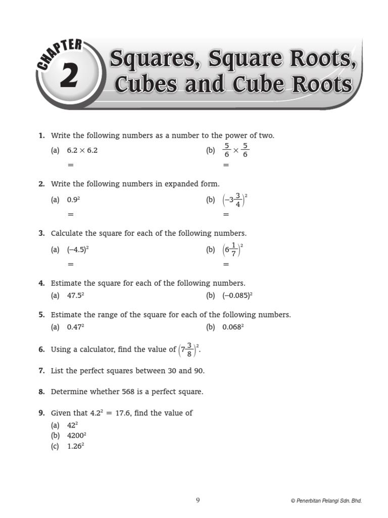 Chap 2 T Er Squares Square Roots Cubes And Cube Roots 1 Write The Following Numbers As Estimating Square Roots Square Roots Graphing Linear Inequalities