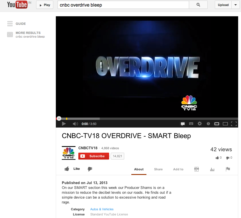 CNBC Overdrive features Bleep as part of its SMART series on 13th July 2013 -  http://www.youtube.com/watch?v=0oNTU6m9aH4