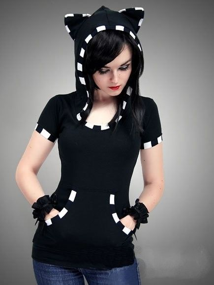 tee shirt gothique emo capuche kitty chat clothing cat. Black Bedroom Furniture Sets. Home Design Ideas