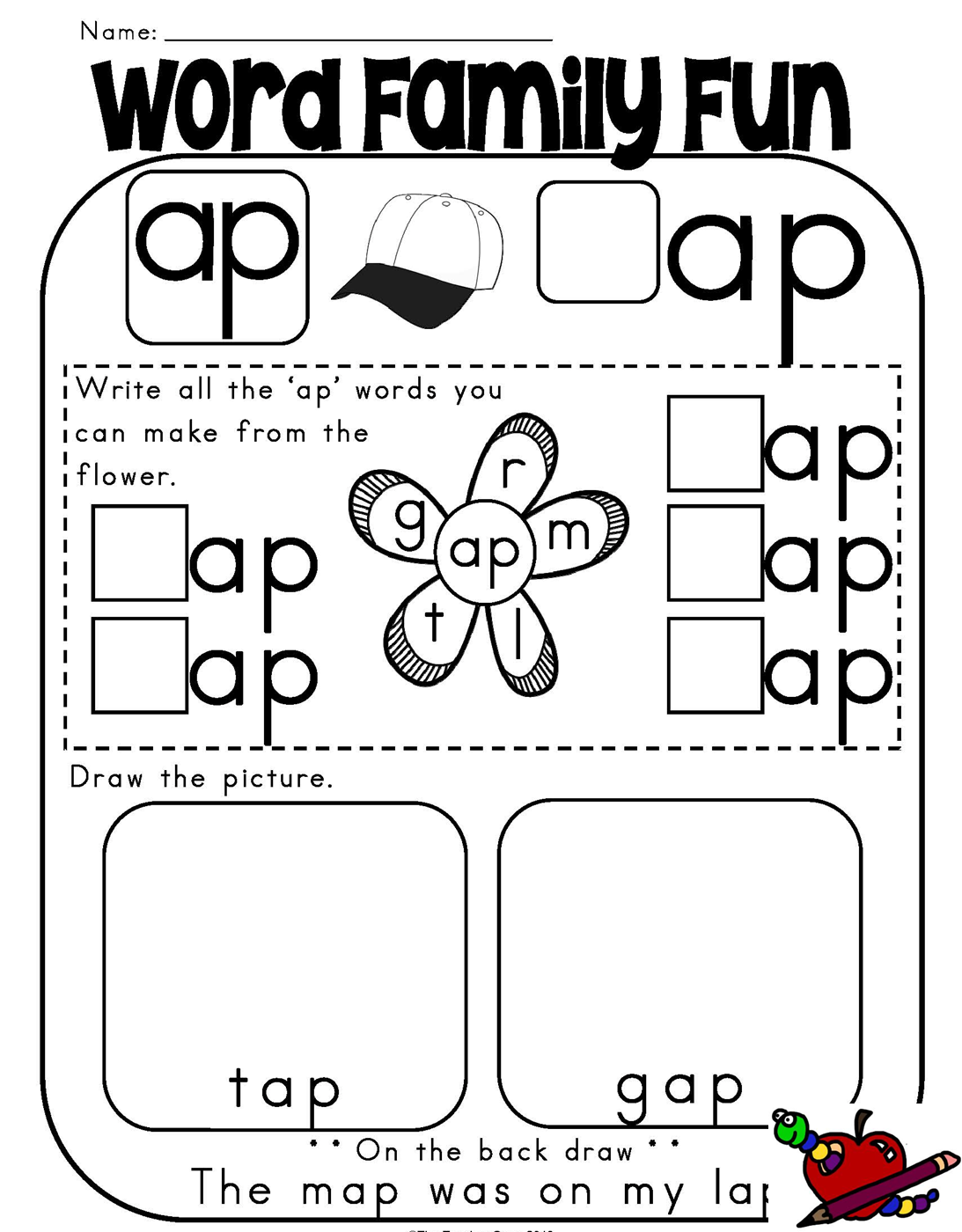 Free Print And Go Activities And Hands On Activities For Cvc Ap Words Word Families Word Family Worksheets Kindergarten Word Families [ 1400 x 1093 Pixel ]