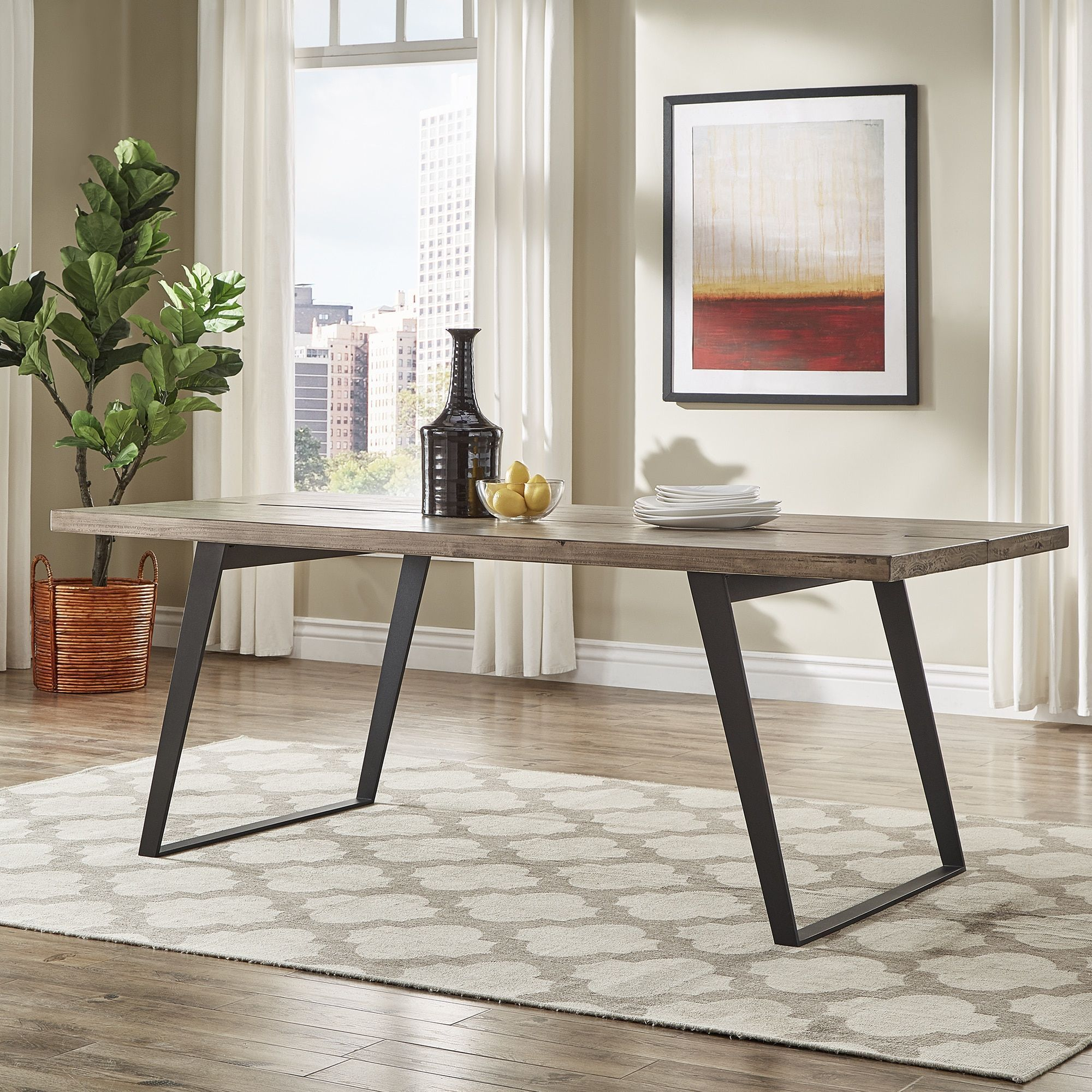 Division Split Top Mixed Media Industrial Wood Dining Table iNSPIRE Q Modern  by iNSPIRE Q