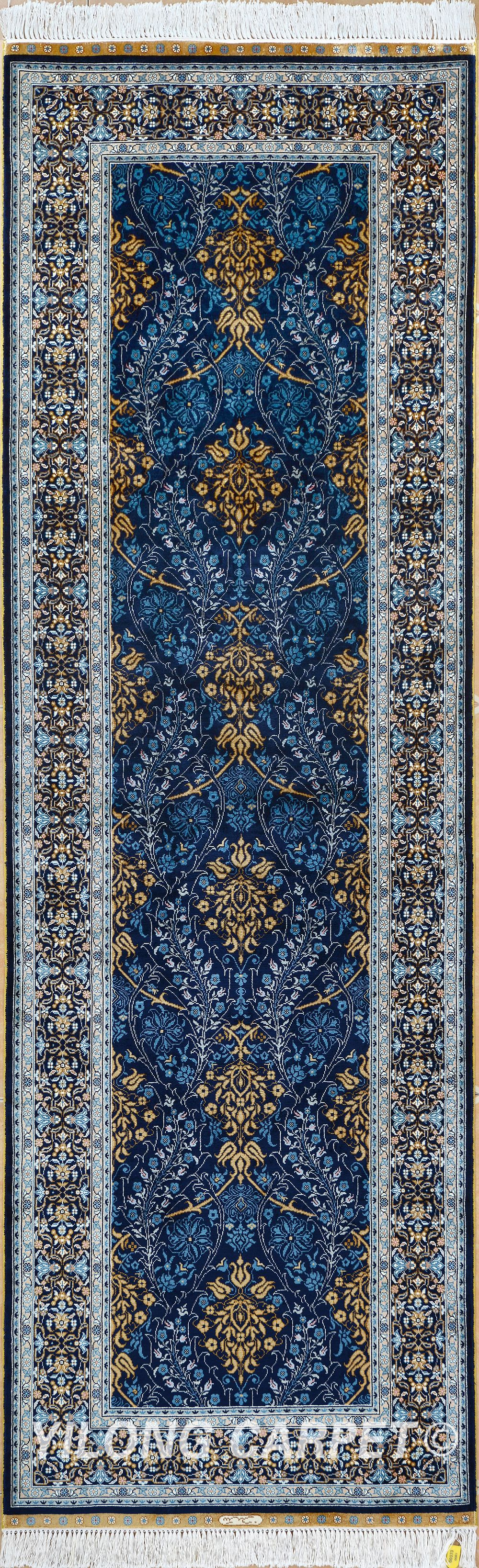 2 5x7 5 Ft Rug Runner Persian Oriental Turkish Carpet Hand Knotted Silk Tabriz Rugs Hereke Area Double Knots From X3 To 14 X20 Color Blue