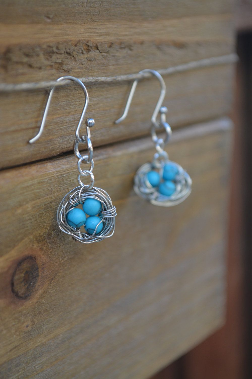 Handmade, Stainless Steel, Silver and Turquoise, Wire