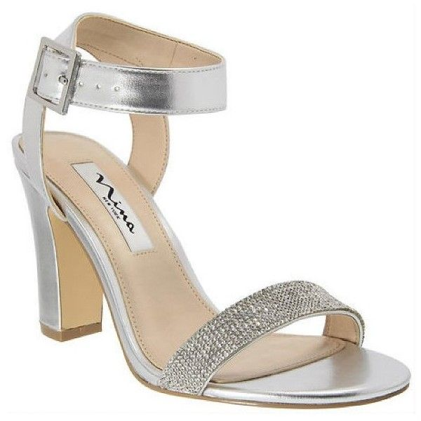 496b3ebcbfb Nina Glitter Solange Chunk Heel Sandals ( 89) ❤ liked on Polyvore featuring  shoes