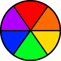basic color wheel filled with red orange yellow green blue and purple