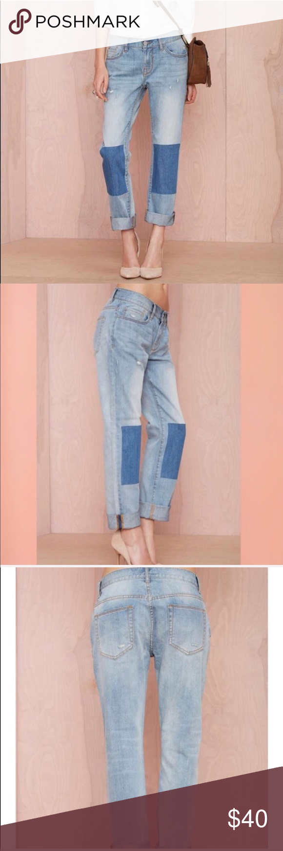"Nasty Gal • Patch Knee Relaxed Fit Boyfriend Jeans NWT Nasty Gal women's size 25 medium wash boyfriend relaxed fit jeans with blue knee patches. The cuffs can be unrolled as well. Brand new   Inseam 29.5""  Waist 15.5""  Rise 8.5""   No Trades  0905ws68 [0622] Nasty Gal Jeans Boyfriend"