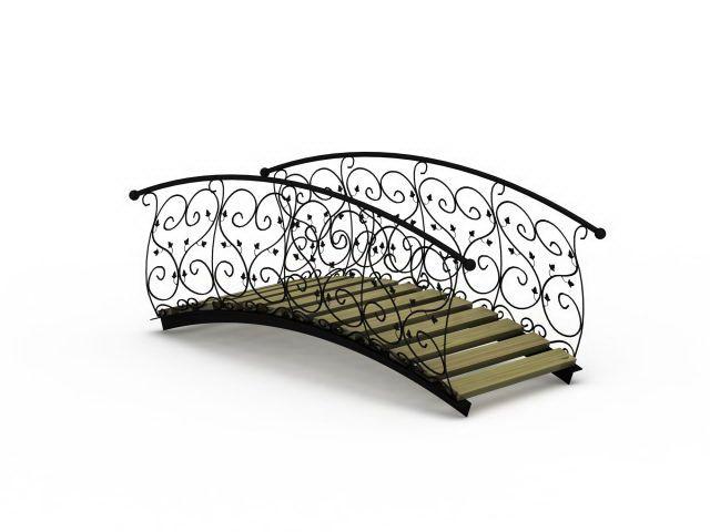 wroght iron bridge | Wrought iron garden bridge 3d model 3ds max