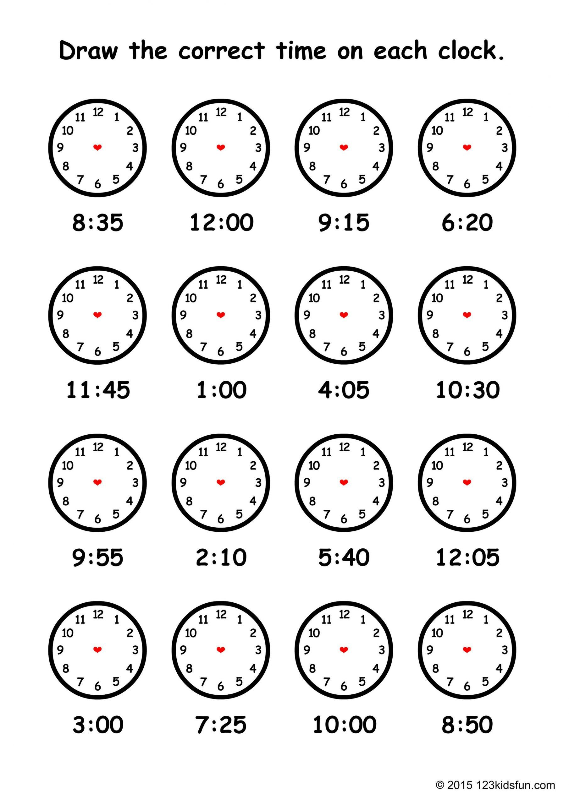 Clock Worksheet For Kindergarten In