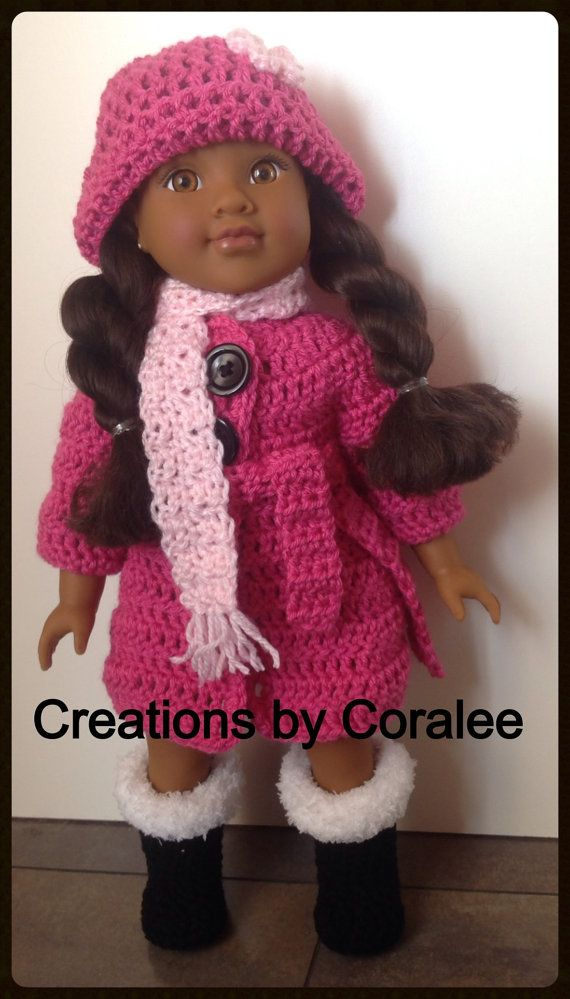 1814/24Crocheted WINTER outfit for 18 Doll by CreationsbyCoralee ...