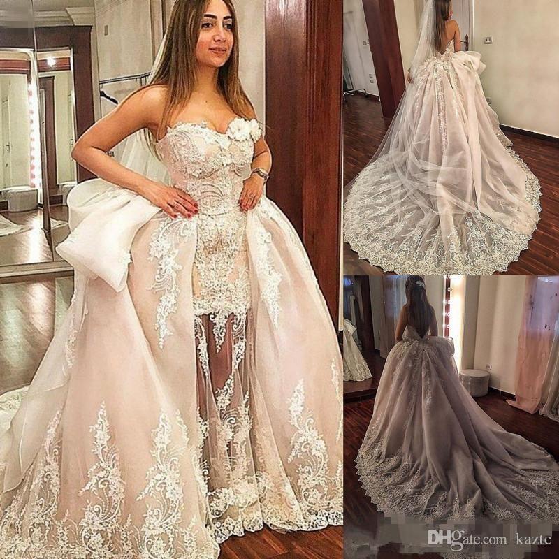 3D Floral Princess Wedding Dresses with Detachable Train