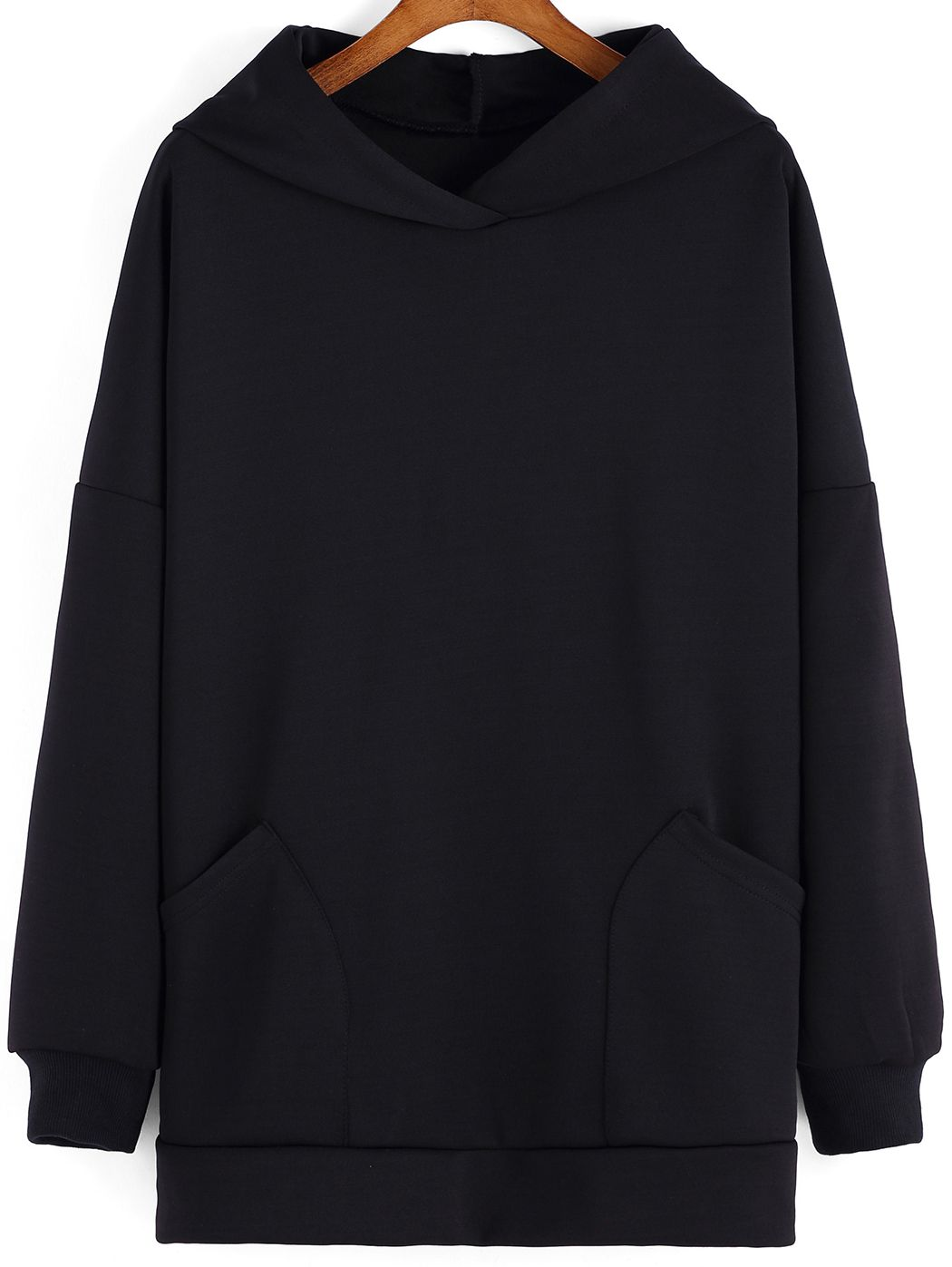 Black Hooded Pockets Loose Sweatshirt , High Quality Guarantee with Low Price!