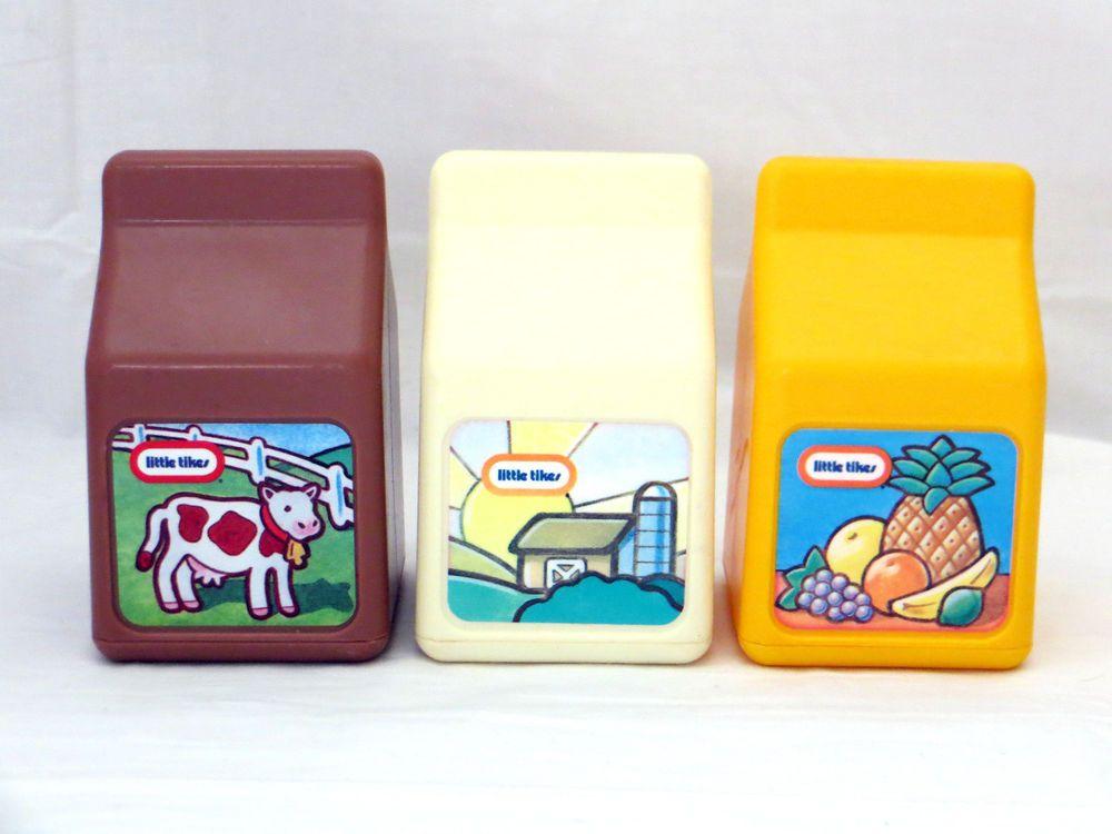vintage lot little tikes milk cartons kitchen play food | play