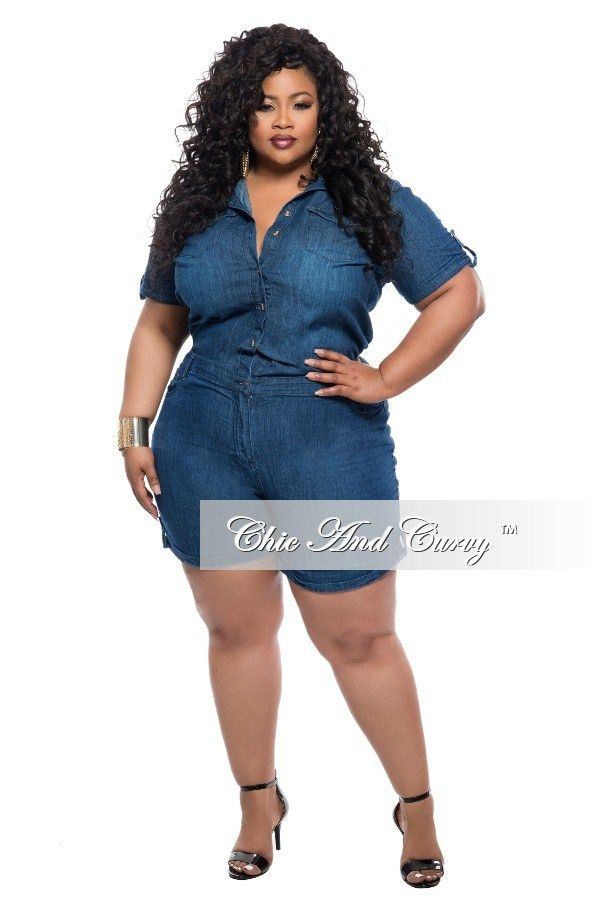 3462923ce50 Plus Size Denim Jumpsuit Romper with Short Sleeves – Chic And Curvy ...