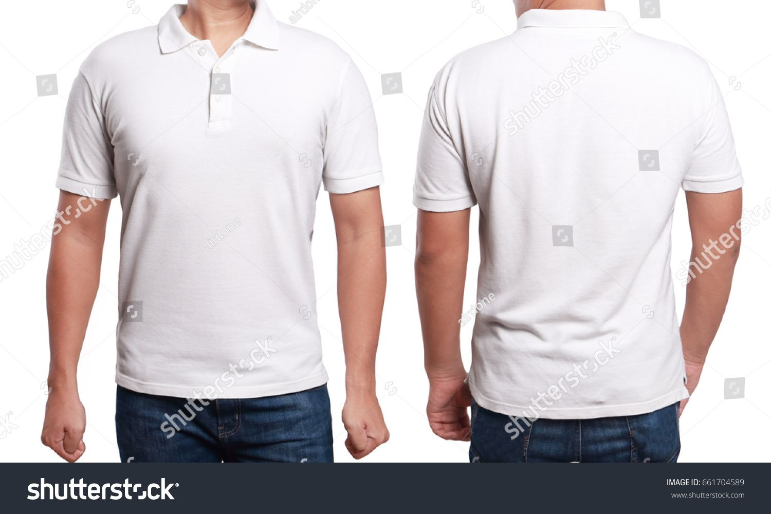 White Polo T Shirt Mock Up Front And Back View Isolated Male
