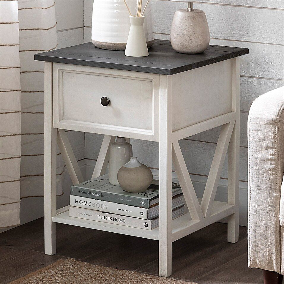 Forest Gate Solid Wood End Table In Grey Wash Wood End Tables Bedroom End Tables Living Room End Tables