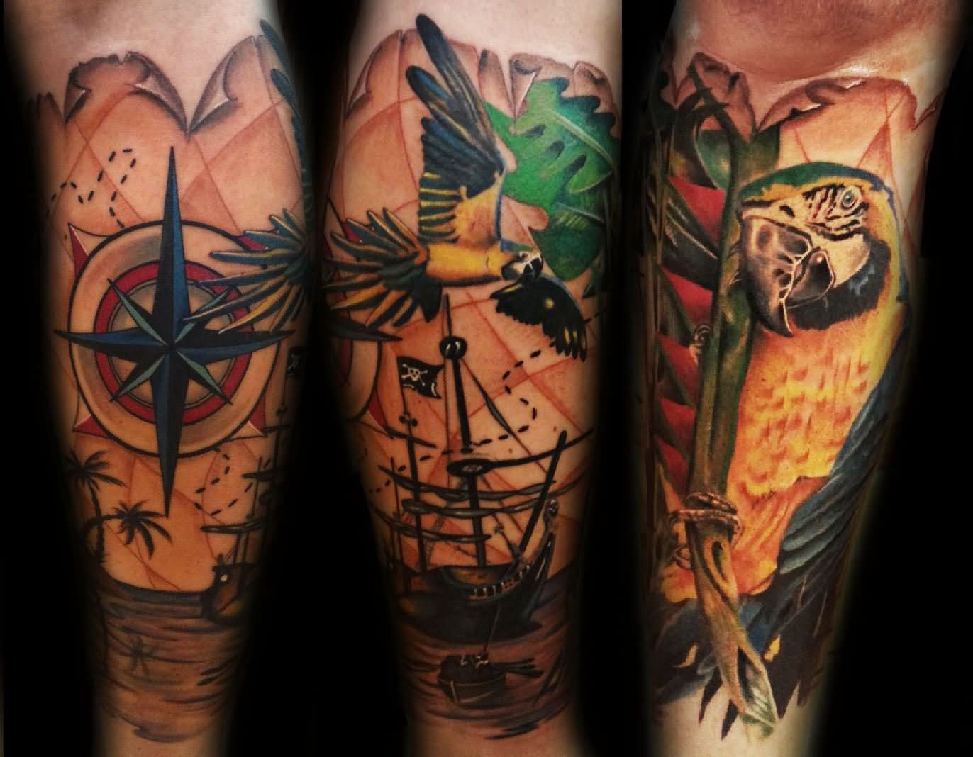 nautical compass and parrot tattoo on leg sleeve compass