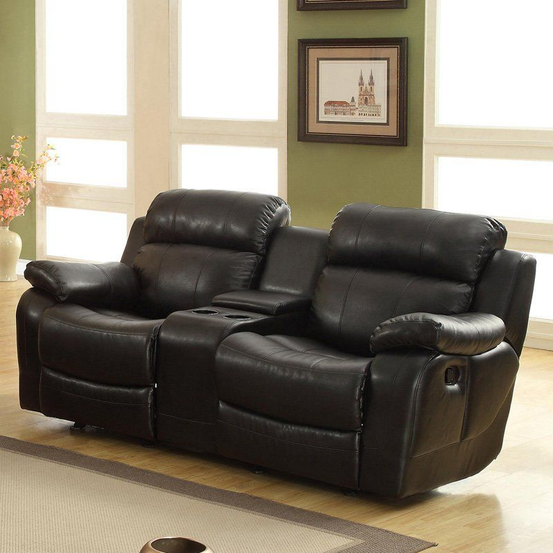Darrin Leather Reclining Loveseat With Console Black