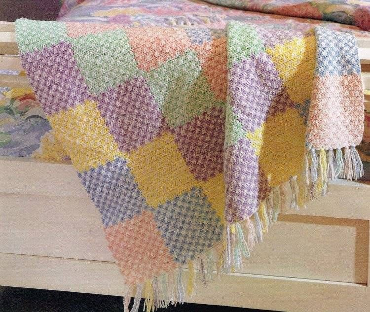 Color Block Baby Afghan Crochet Pattern Instructions Blanket Throw ...
