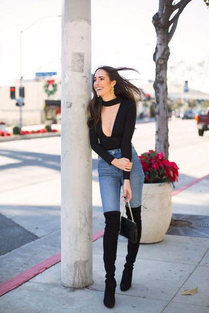 5c5bd65848f Top  tumblr black choker v neck plunge v neck denim jeans light blue jeans  skinny jeans boots black
