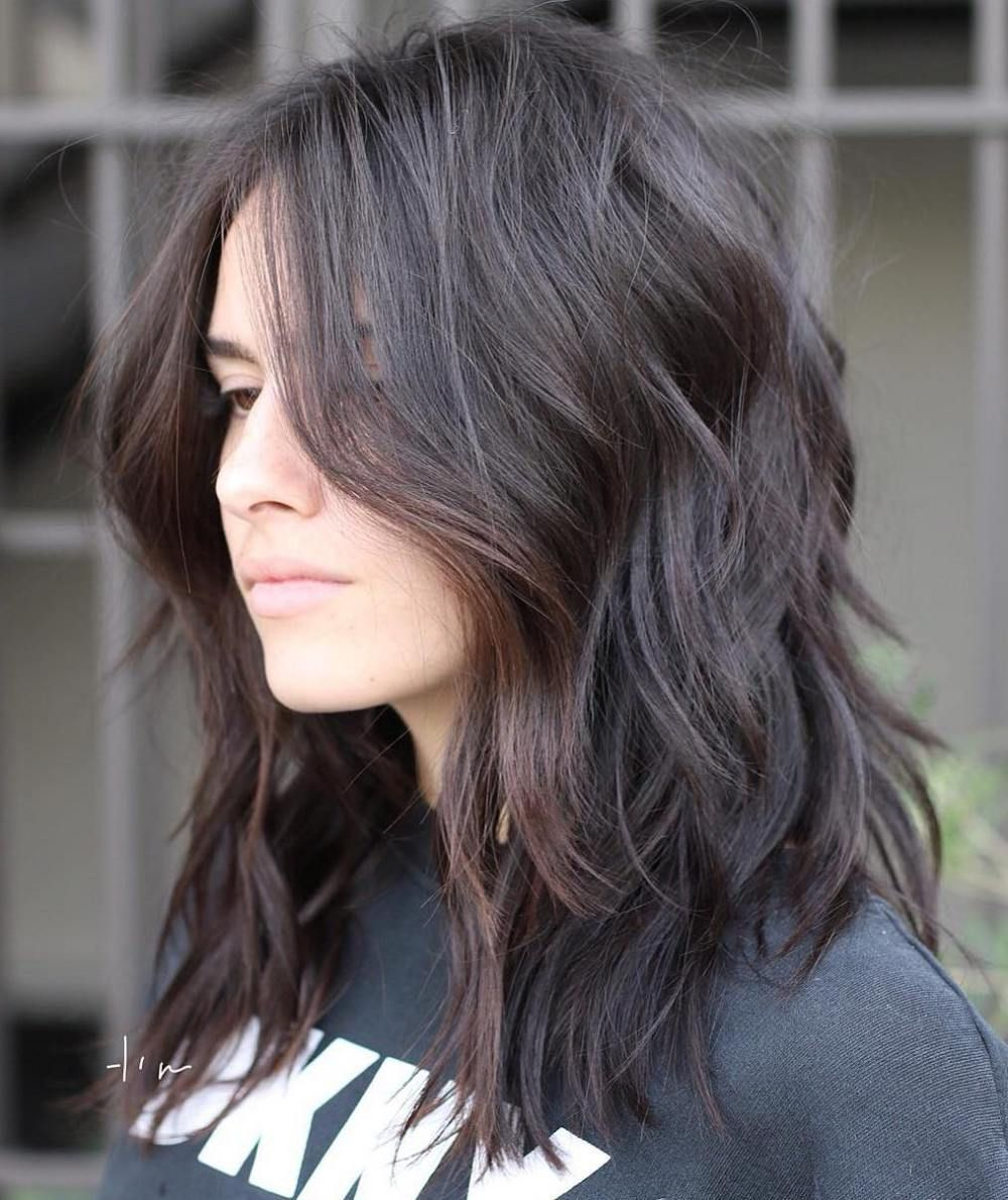 Brunette messy shag wavy haircuts and styles pinterest