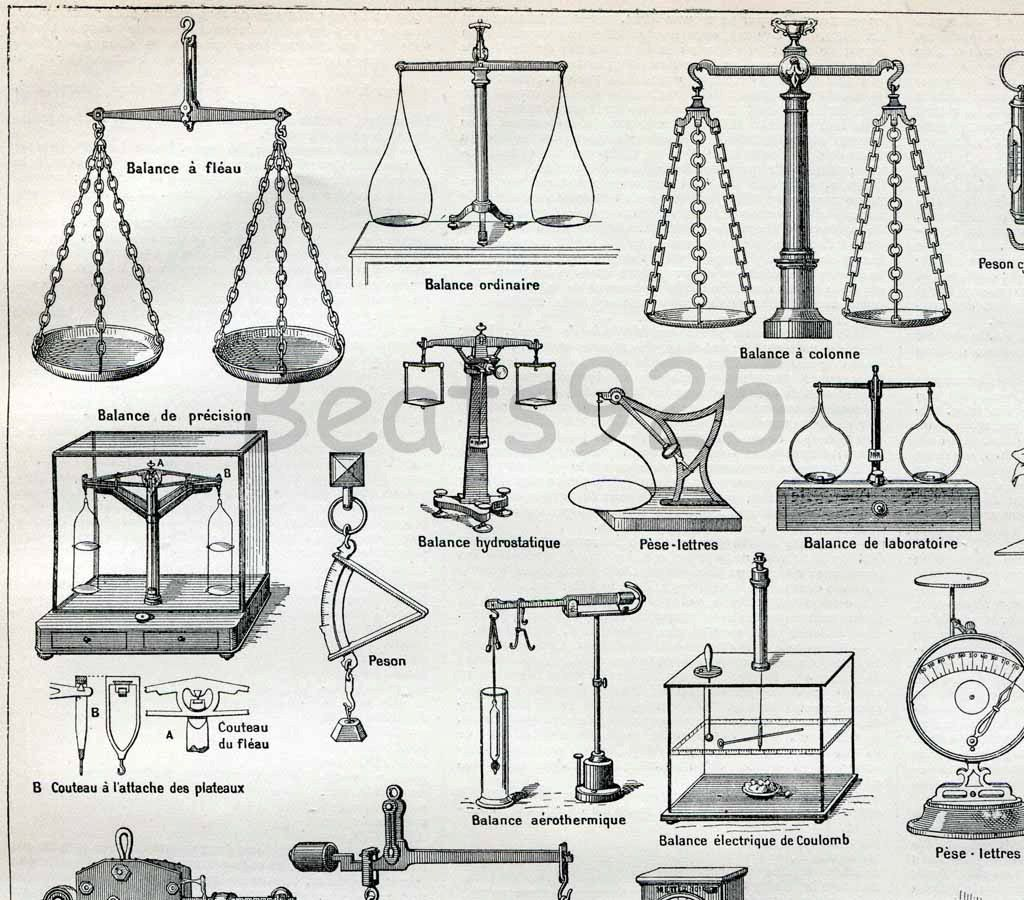 Weighing Scales Weights and Measures 1898-1904 Antique French Engraving Print Nouveau Larousse. $12.00, via Etsy.
