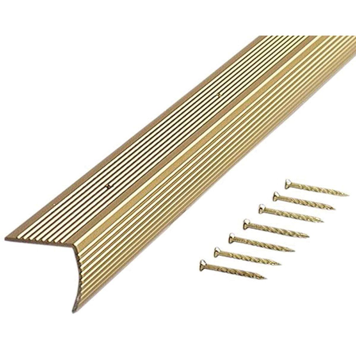 Best M D 36 Satin Brass Fluted Stair Edging Carpet Floor 400 x 300