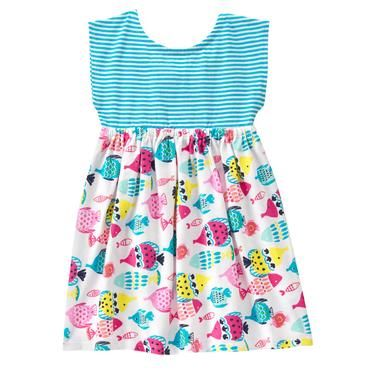 Toddler Girls Aqua Stripe Fish Dress by Gymboree