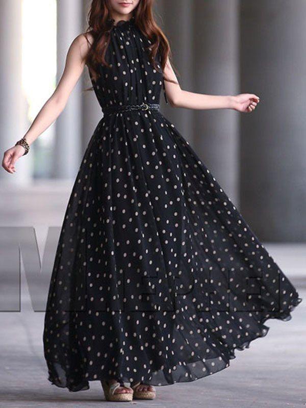 e9785b04049 Black Polka Dot Mock Neck Maxi Dress   Casual Dresses