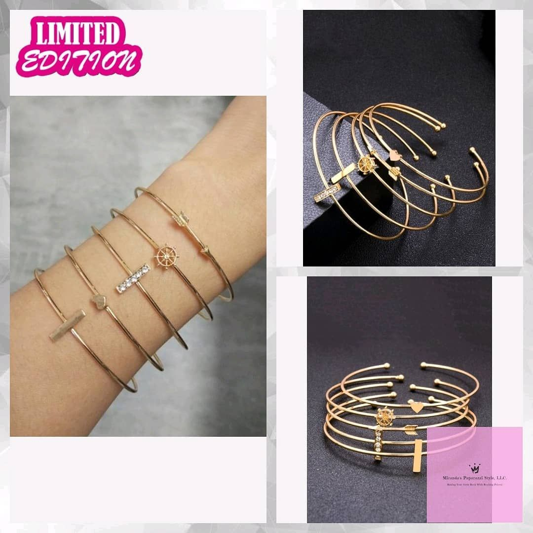 Bar & Arrow Cuff Bracelet Set 5pcs  #fashion #jewelry #greatdeals  #mirandaspaparazzistyle #stylish #sales #greatdeal #rockyourstyle  #outfy @outfyinc