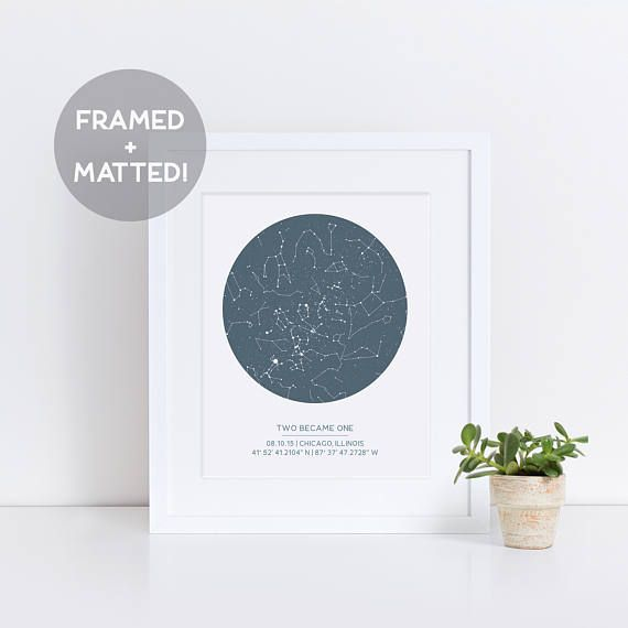 Star Map By Date And Location.Personalized Star Map Framed Matted First Anniversary Gift