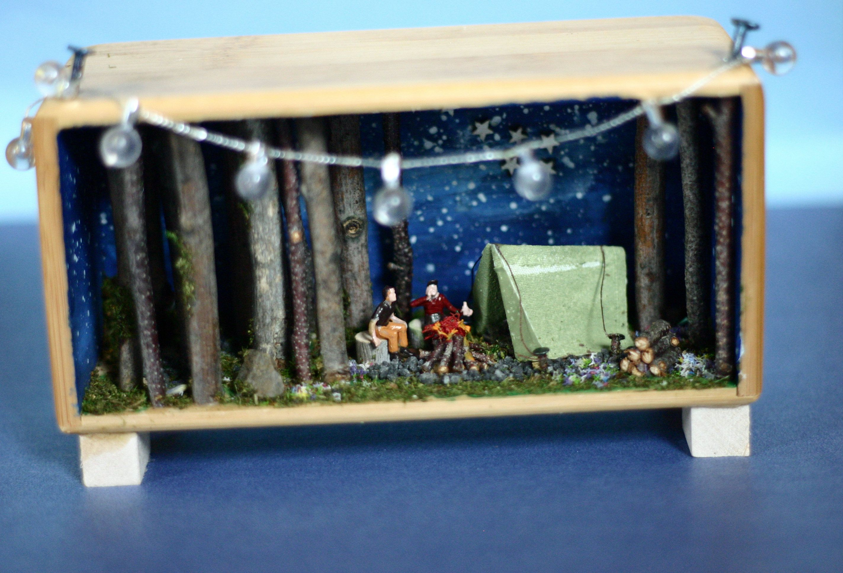 Photo of Diorama, camping shadow box, camping diorama, miniature camping scene, summer vacation, scene in a box, tent camping, handmade, stick trees